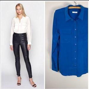 Equipment Femme 100% Silk Blouse Shirt Blue